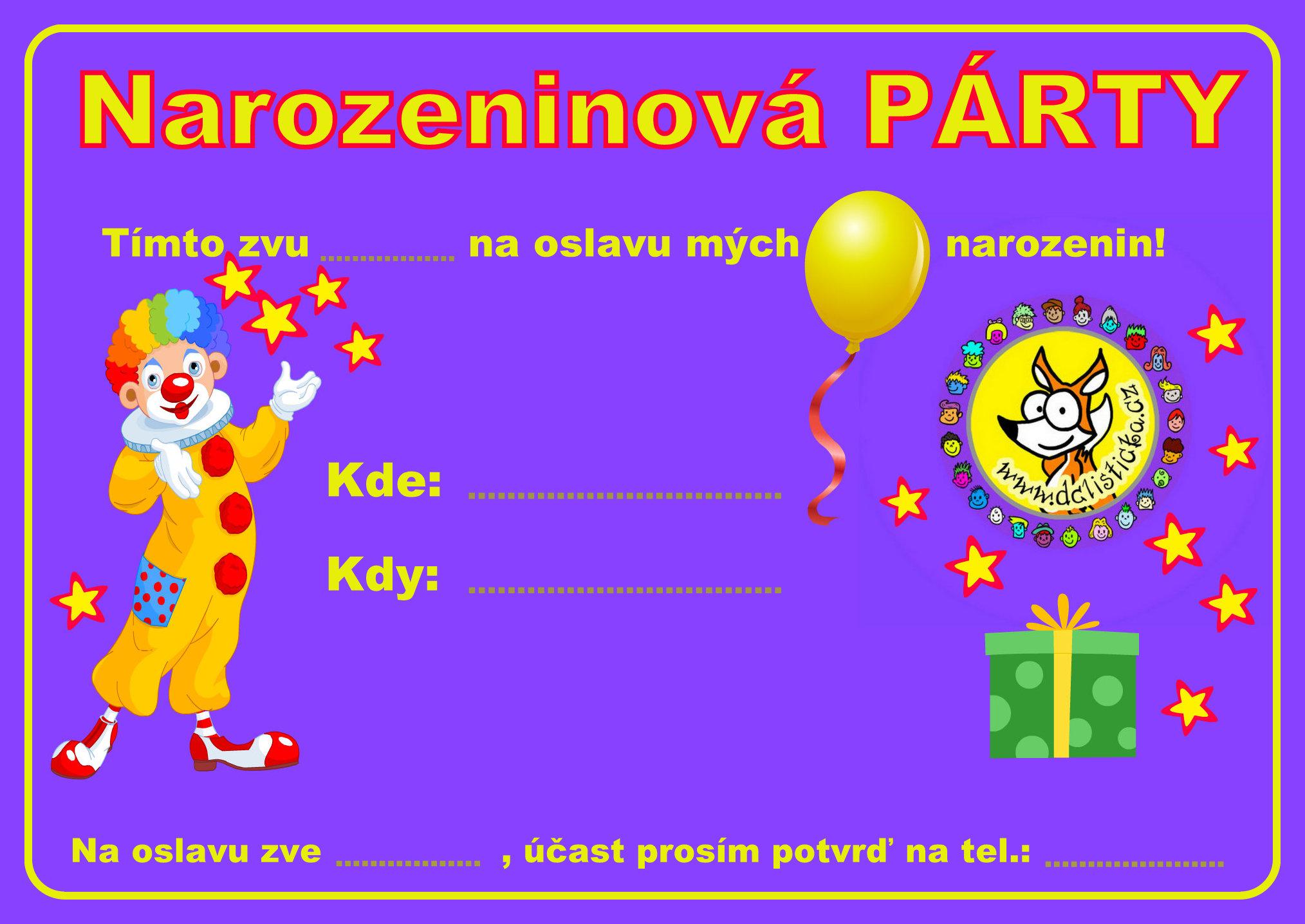 pozvánky k narozeninám k vytisknutí Pozvánky na párty | Dětské centrum LIŠTIČKA pozvánky k narozeninám k vytisknutí